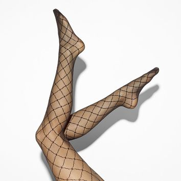 Simply Vera Vera Wang Scalloped Grid Control-Top Tights, Size: