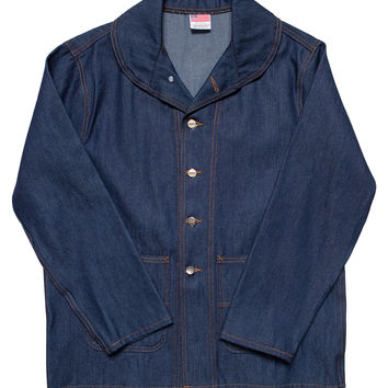 Indigo Denim Chore Coat - Shawl Collar