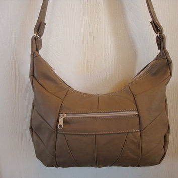 Free Ship vintage mExIcO PATCHWORK taupe Brown LEATHER shoulder hobo bAG Purse handbag