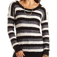 Popcorn Knit Striped Tunic Sweater by Charlotte Russe - Black Combo