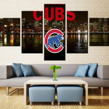 Chicago Cubs 5 Panel Canvas For ManCave MLB
