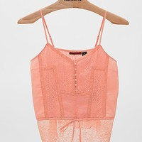 BKE Red Pieced Henley Tank Top
