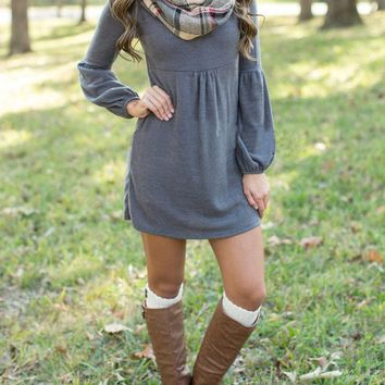 Grey Lantern Sleeve Loose Dress