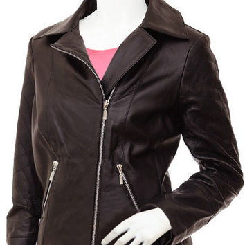 Draped Women Brown Leather Jacket