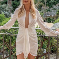 Women's new hot sell with a sexy knot shirt dress