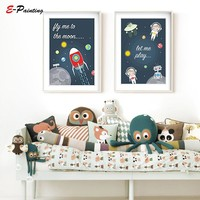 Modern Canvas Art Space Nursery Wall Art Prints Fly Me To The Moon Star Decor Space Themed Nursery Decoration Picture Boy Gift
