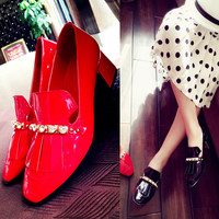 Comfortable Elegant New Causal Leather England Style Vintage Tassels Square Toe Rhinestone Shoes With Heel Loafer Shoes [4920328132]