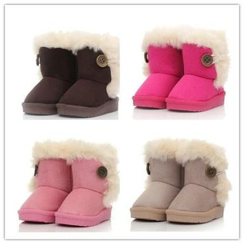 2014New children snow boots fur winter girls Children Thicken Shoes For baby Kids chil