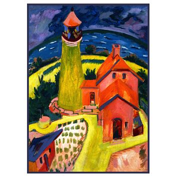 Landscape of Lighthouse in Fehmarn Germany by Ernst Ludwig Kirchner Counted Cross Stitch Pattern
