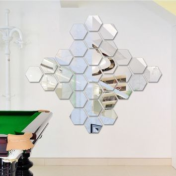 12Pcs/Set Hexagonal 3D Mirror Wall Stickers Restaurant Aisle Floor Personality Decorative Mirror Paste Living Room Sticker8A0563