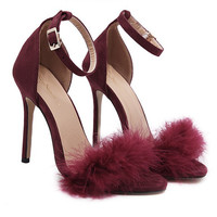 Summer Fashion Feather Buckle Band Exposed Toe Sandals Heels Shoes