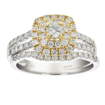0.17 Carats 1 CT Diamond Wedding Bridal Ring Set 14K Two Tone Gold
