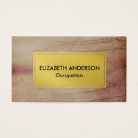 Chic Pink and Brown Distressed Grunge, Gold Business Card