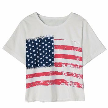 2017 women t-shirt for summer Short Sleeve American Flag Print Short Tops 90's crop top female Loose Casual T-Shirts