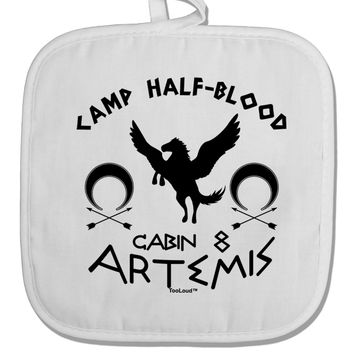 Camp Half Blood Cabin 8 Artemis White Fabric Pot Holder Hot Pad by TooLoud