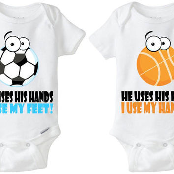 "Baby Gift for Twins: Gerber Onesuit brand body suits - Soccer & Basketball (set of 2) ""He uses his hands; I use my feet"" sports parents!"