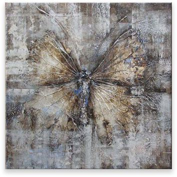 Oil Painting Abstract Modern Contemporary Wall Decor Handmade Pale Butterfly