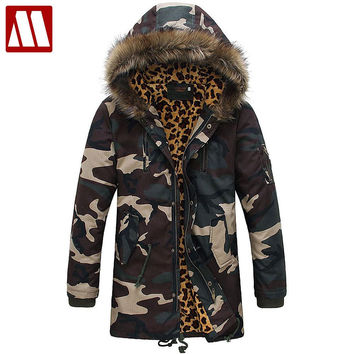 Men Winter Leopard Camouflage Cotton Jackets New Arrival Fashion Men's Parkas Snow Winter Coat