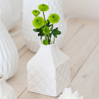 White Lattice Vases