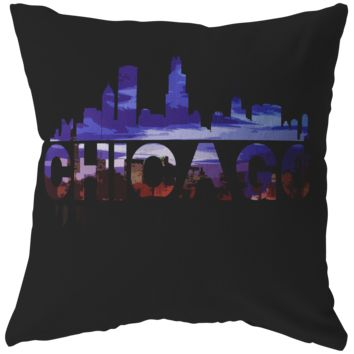 Chicago City Pillow - Skyline Landmark U.S.A Souvenir Travel Pillow
