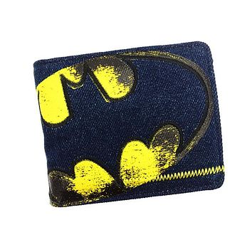 Anime Wallets New Designer Jeans Wallet Batman Superman Denim Wallets Young Boy Girls Purse Small Money Bag