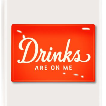 Drinks Are On Me Plate Decoupage Glass Tray