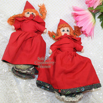 Little Red Riding Hood Doll, 3 in 1 Topsy Turvy Cloth Toy, Astra Trading Corp., Vintage Storybook Fairytale Doll, Big Bad Wolf 2 Fable Dolls