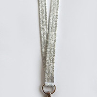 Silver Lanyard / Pretty Lanyards / Floral Keychain / Silver Filigree / Key Lanyard / Silver & White / ID Badge Holder / Gift Ideas
