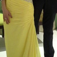 Yellow Floor Length Prom Dress 1 - Tbdress.com