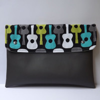 Gitar vegan clutch/ grey vegan leather clutch/ tablet case/ ipad cover/ rockforever