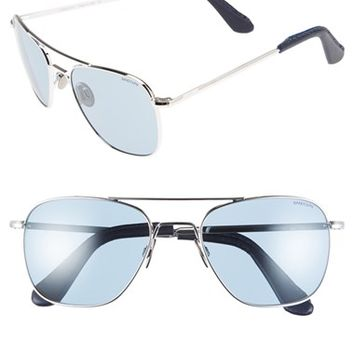 Men's Randolph Engineering 55mm Aviator Sunglasses - Platinum/ Blue Gray