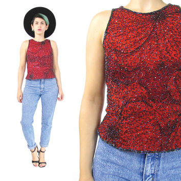 90s Beaded Silk Top Floral Print Silk Tank Top Beaded Sleeveless Shell Blouse Evening Party Top Bugle Beads India Sequin Silk Blouse (XS/S)