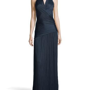 Ruched Charmeuse Halter Gown, Petrol - Halston Heritage