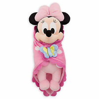 "disney parks 10"" baby minnie mouse plush toy with blanket new with tag"