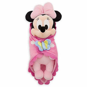 """disney parks 10"""" baby minnie mouse plush toy with blanket new with tag"""