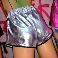SWEET LORD O'MIGHTY! SPACE SLUT TRACK SHORTS IN SILVER