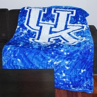 Kentucky Wildcats 63'' x 86'' Plush Blanket - Royal Blue/White