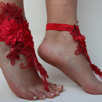 Wedding Lace shoes,Red Lace Sandals,Beach Wedding,Bridal Barefoot Sandals,Party ,Prom,Accessories