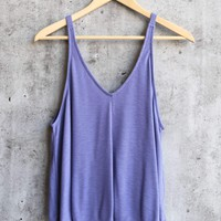 free people - dani essential ribbed tank - blue/iris