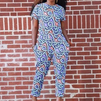 Imani African Print Jumpsuit (Lavender Loops)- Clearance