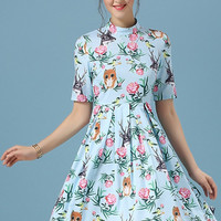 Animal & Floral Print Closed-Neck Pleated Dress