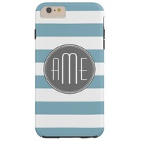 Light Blue and Gray Striped Pattern Monogram