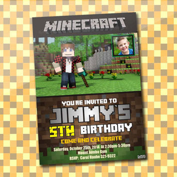 mine craft Games, Birthday Party, Invitation Card Design