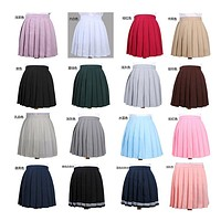 2017 High Waist Pleated Skirt  Anime Cosplay School Uniform Student Girl Pleated Skirt for Girl