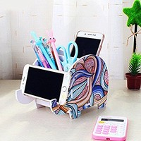 Elephant Shape Cute Cell Phone Mounts Desk Pen Container, Creative Tablet Smartphone Phone Stand for iPhone Samsung Sony Huawei, Brush Pot-HomRing