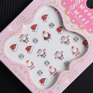 One Piece Xmas Hats and Santa Claus Pattern 3D Nail Sticker