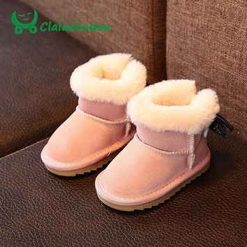 Claladoudou 12-14CM Princess Girls Shoes Snow Boots For Girls Winter Shoes Plush Kids Genuine Leather Boots Ankle Boots For Girl