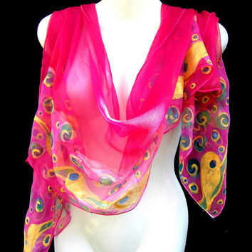 Hand Painted Silk Scarf Chiffon Gold Pink Fairy Teardrops Boho Chic Scarf