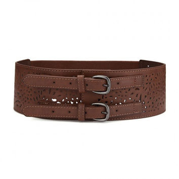 Brown Hollow Out Elasticated Buckle Belt