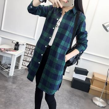 EYM Brand Women Long Shirt Girlfriend Style Cotton Casual Long Sleeve Red Flannel Plaid Shirt Blouses Female Tops Blusas